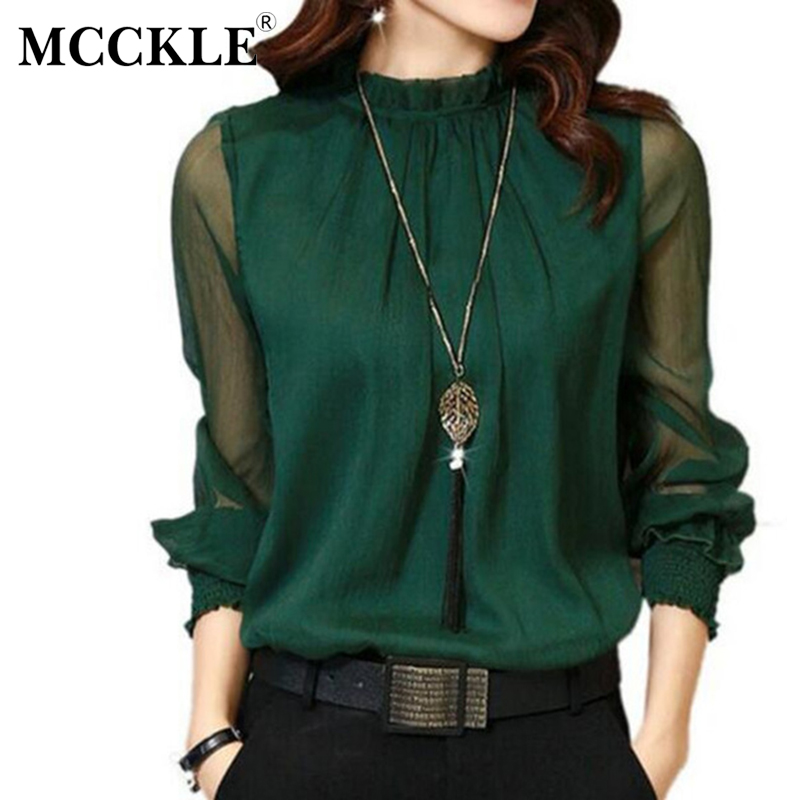 MCCKLE Women Blouses 2017 Autumn Long Sleeve Chiffon Blouse 5 Colors Solid Sexy Mesh Women Shirt Handsel Necklace as a Gift