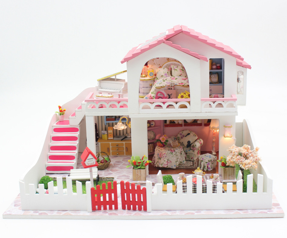 Hot Sale DIY Model Doll House Assemble Villa Doll HomeWood