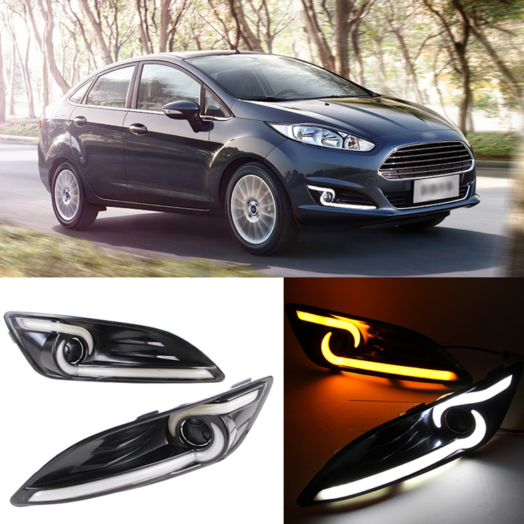 Ownsun Brand New Updated LED Bar Daytime Running Lights DRL With Yellow Turn Signal For Ford Fiesta 2013-2014 brand new updated led daytime running lights drl with black foglights cover for mazda 3 axela 2013 14