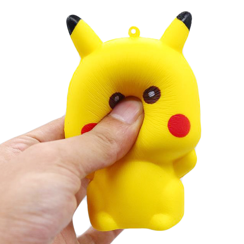 Купить с кэшбэком Jumbo Pikachu Squishy Cute Cartoon Doll Phone Straps Squeeze Toys Slow Rising Bread Scented Stress Relief Fun for Kid Gift Toy