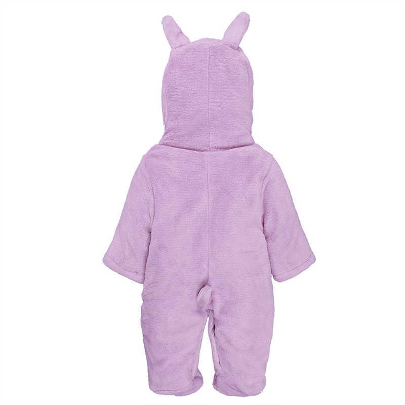 Зимний Детский костюм утепленные Новорожденные Для мальчиков и девочек мультфильм кролик собака медведь комбинезон с капюшоном хлопок + флис теплый bebes комбинезон