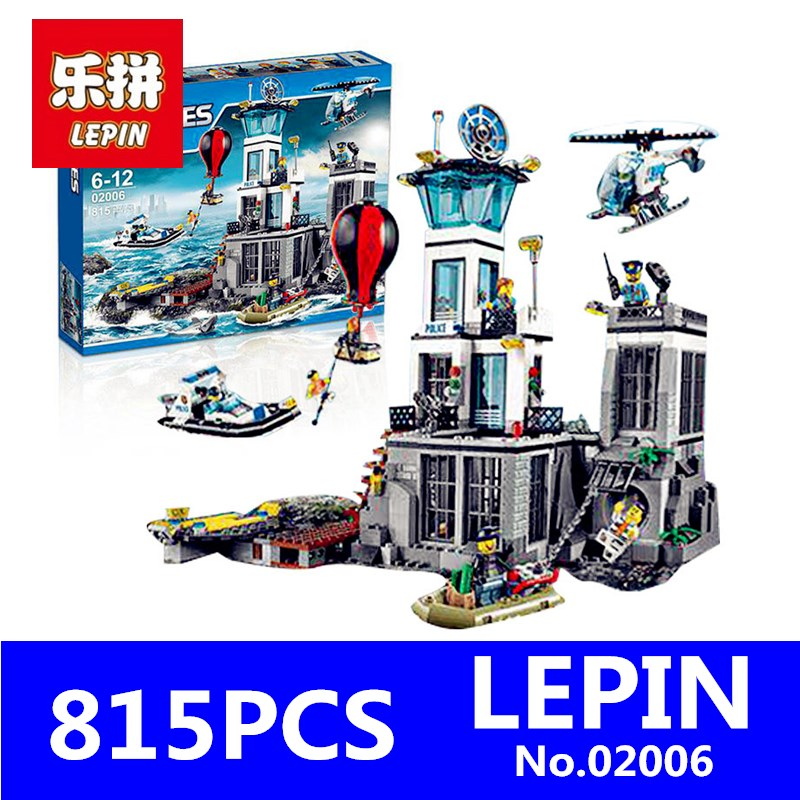 Prison Island Set LEPIN 02006 815Pcs City Series Children Educational Building Blocks Bricks Boy Toys for Children With 60130 lepin 02012 city deepwater exploration vessel 60095 building blocks policeman toys children compatible with lego gift kid sets