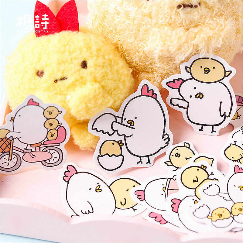 40Pcs/lot Cartoon Round Chicken Stickers For Snowboard Laptop Luggage Car Fridge Car Toy Stickers Gift Beauty
