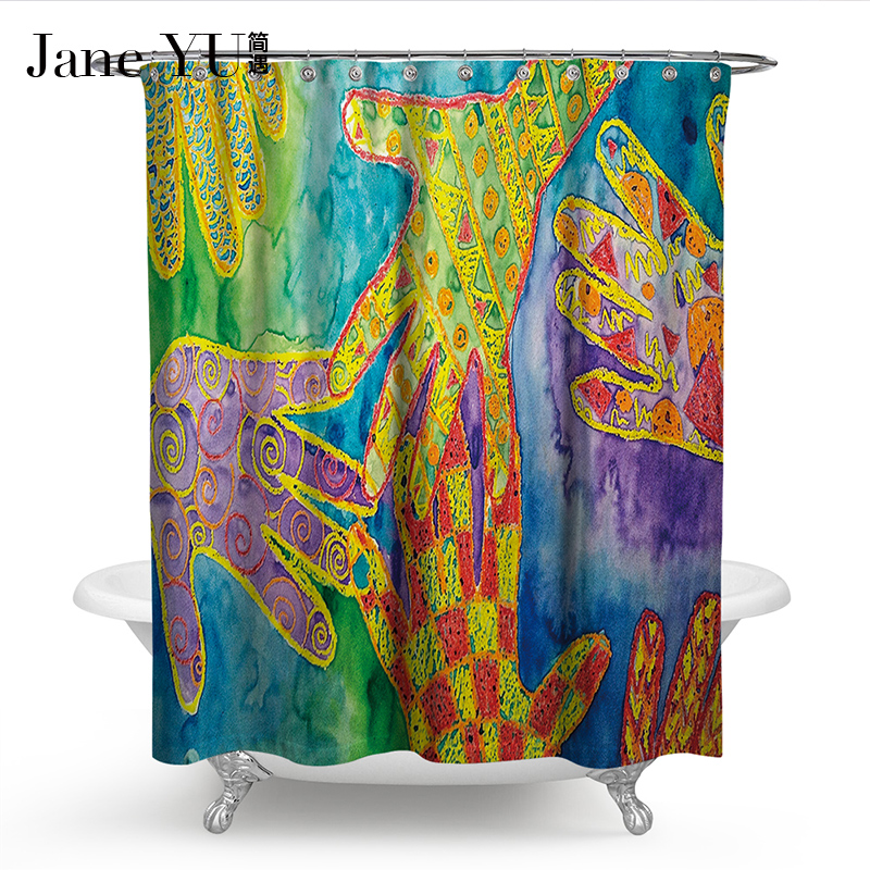 JaneYU 19 Colors 3D printed bath window curtain Bathroom Decoration in Shower Curtains from Home Garden