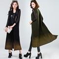 Высокого класса двусторонняя шерсть жилет пальто 2016 осень и зиму одежду женщин длинный абзац рукавов жилет 100% шерсть шерстяной жилет