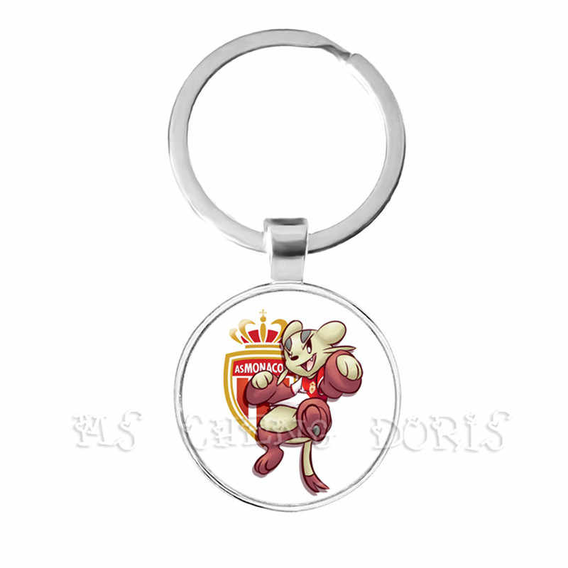 Morocco Football Team Logo With Pokemon Club PSG Team Logo 25mm Glass Dome  Key Chain For Football Fans' Commemorative Gift