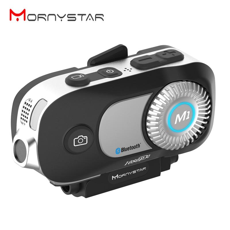 New MORNYSTAR M1Pro 800m 4 Riders Group Intercom MP3 HD 1080P Video Recorder Camera Motorcycle Bluetooth Intercom Helmet Headset