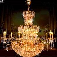 Новый золотой престижный дуплекс лестницы гостиной в европейском стиле виллы длинные огни золото люстры Lmy 0231