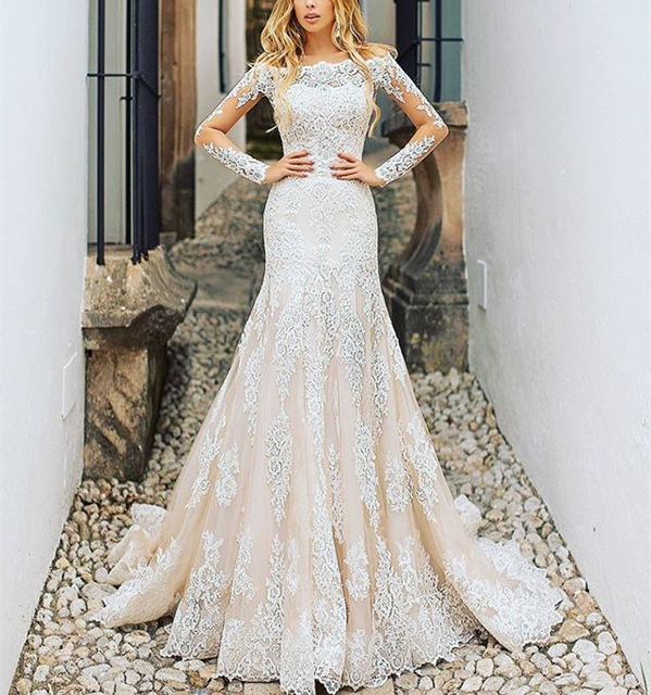 Vestidos De Novia New Amazing Long Sleeves Detachable Train Applique Lace Tulle Mermaid Wedding Dresses Champagne Robe De Mariee