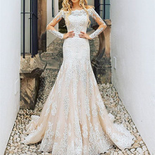 Wedding-Dresses Detachable-Train Champagne Robe-De-Mariee Tulle Applique Mermaid Lace