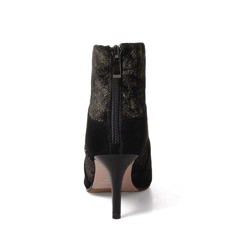 Nouvelle En silver Femmes D'hiver Black Mince Bottines Daim Couleurs Chaussures Ft211 gold Bottes Zip Retour Talons Qualith Mixte Phoentin Vache Haute De black Fermeture kZiOPXuT