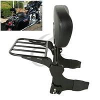 Black Detachable Backrest Sissy Bar Luggage Rack For Harley Touring Models 97 08