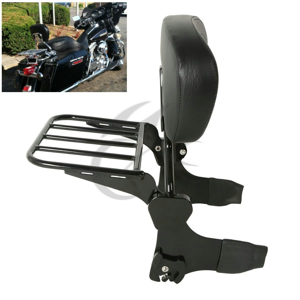 Backrest Sissy Bar Set W/ Luggage Rack For Harley Road King Street Glide Electra Classic FLHT FLHX HD Touring Models adjustable 1 2 inches lowering kit for harley touring road king electra street glide flhx flht 2002 2016