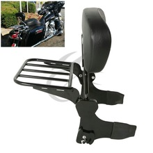 Black Detachable Backrest Sissy Bar Luggage Rack For Harley Touring Models 97-08