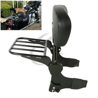 Black Detachable Backrest Sissy Bar Luggage Rack For Harley Touring Models 97 08
