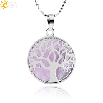 Natural Round Gem Stone Kabbalah Tree of Life Necklaces