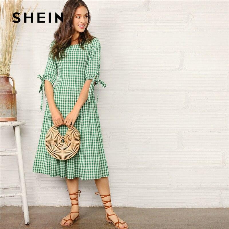 SHEIN опрятный зеленый с узлом манжеты в мелкую клетку подходит и расклешенное Летнее Длинное платье для женщин 2019 трапециевидная плиссирова...