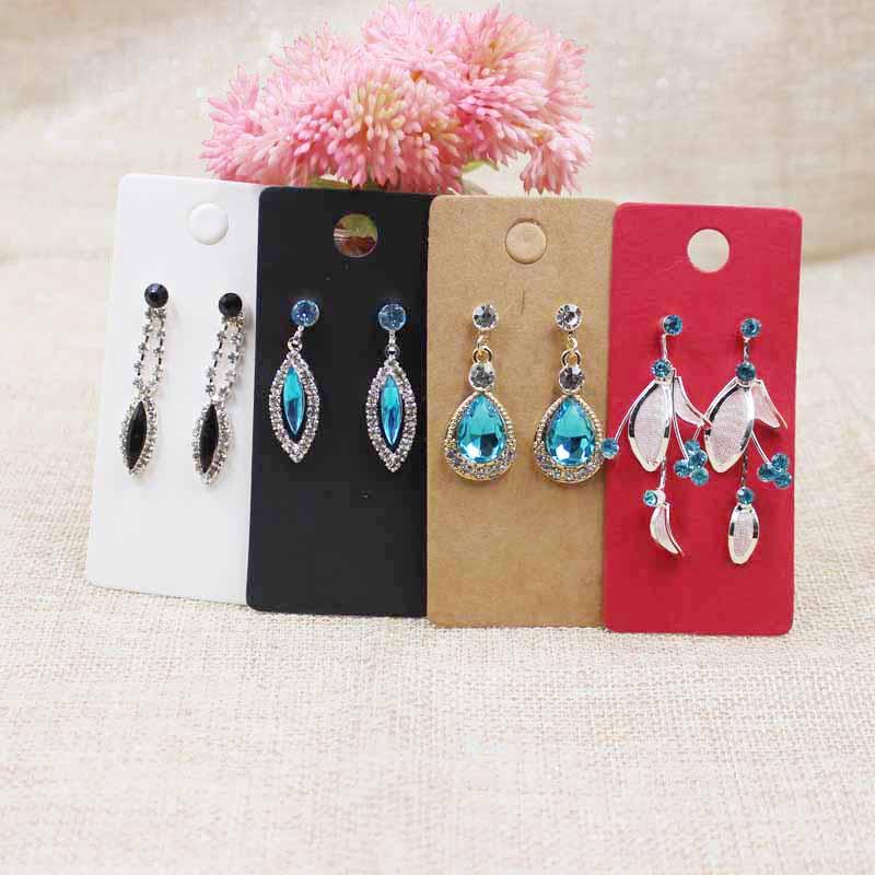 4*9cm Kraft/black /hot Pink/white Paper Blank Jewelry Earring Display Card Custom Logo Cost Extra 200pcs Per Lot