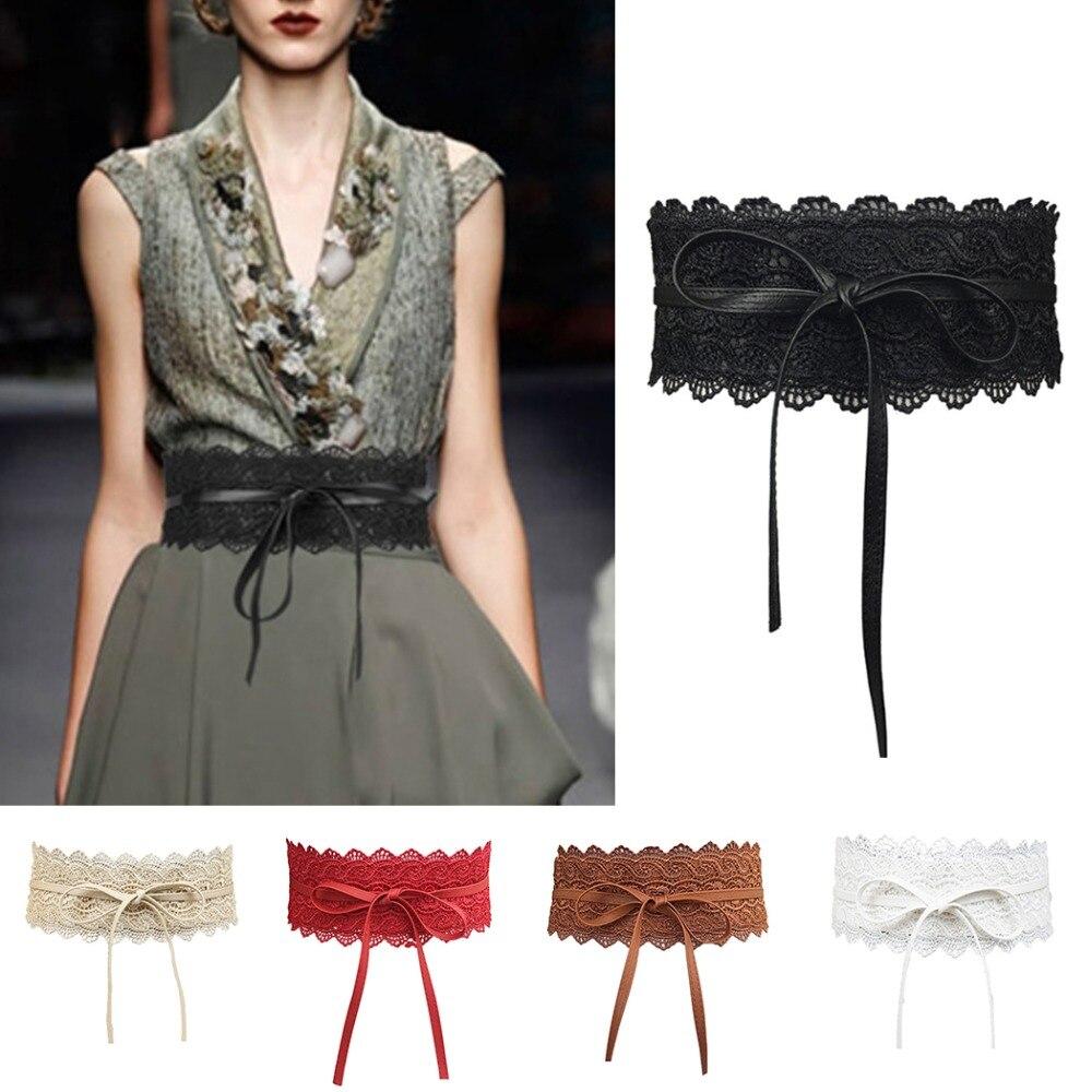 Encaje negro cinturones anchos para las mujeres 2018 verano Faux cuero  elástico cintura Ladies Cummerbund cinturones corsé arnés de alta calidad 7b2c976c20f6