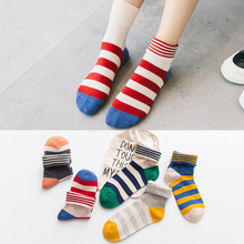 Ankle Warm Woman Fashion White Color Blue Red Stripe Cheap Wholesale Socks Spring Winter 1 Pair of Unisex Cotton Socks pair of stripe pattern cotton blend ankle socks