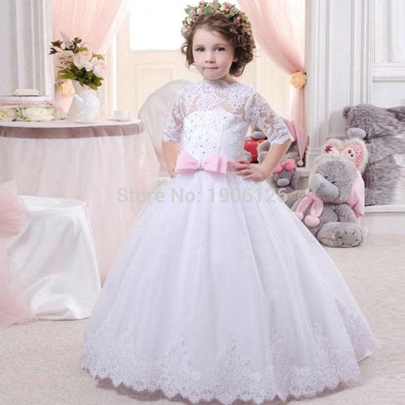 Princess White Flower Girl Dresses For Weddings 2016 Cupcake Pageant ...