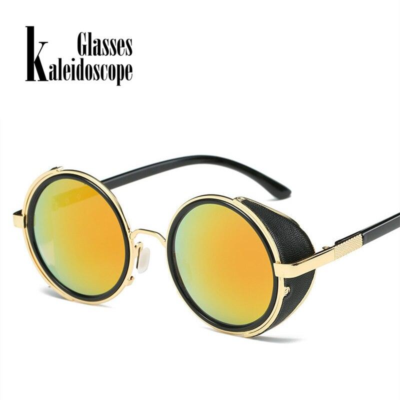 Kaleidoscope Glasses Steampunk Sunglasses Women Men Vintage Punk Sunglass Retro Windproof Design Eyewear Metal Round Sun Glasses