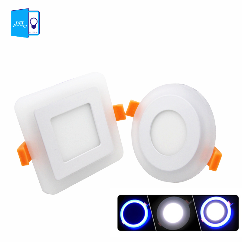 [DBF] LED panel downlight 6 W 9 W 16 w 3 modelo LED panel luz doble Color LED techo empotrado luces focos de interior