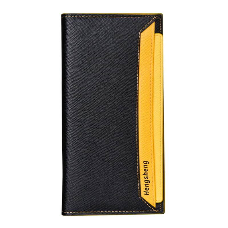 2017 HENGSHENG Bifold Business Fashion Wallet Men Slim Man Wallet Checkbook Organizer Card Cash Holder Leather Long men wallets