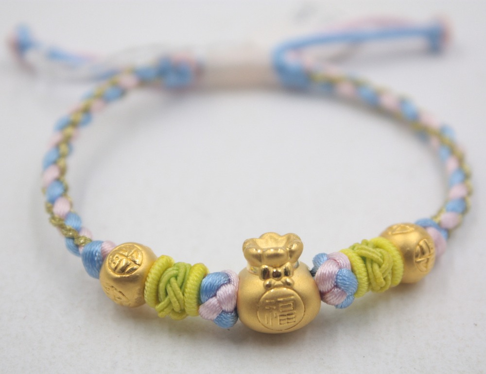 New Real 24k Yellow Gold Luck Carved Bag Year Bead With Color Rope Knitted Bracelet For Women Men Girl Ladies 16inch 2.3-2.5gNew Real 24k Yellow Gold Luck Carved Bag Year Bead With Color Rope Knitted Bracelet For Women Men Girl Ladies 16inch 2.3-2.5g
