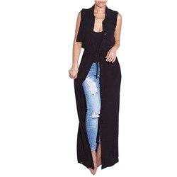 Adogirl Femmes Longue Mousseline de Soie Blouse Nouvelle Mode Noir Sans Manches Tournent Vers Le Bas Cardigan Maxi Chemise Blusas Bouton Tops Veste