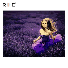 RIHE Dress Girl Oil Painting By Numbers Purple Lavender Cuadros Decoracion Acrylic Paint On Canvas For Artwork Modern Home Decor