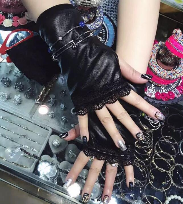 Women's Black Color Elastic Leather Patchwork Lace Glove Lady's Fingerless Sexy Glove R316