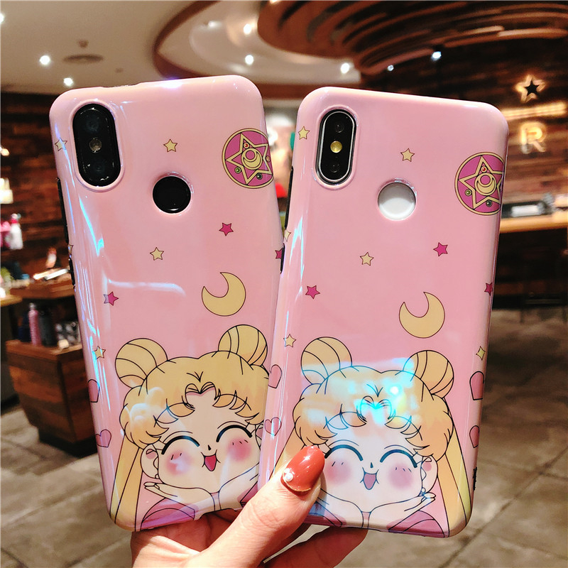 For Xiaomi 6x Cute Sailor Moon Back Case For Xiaomi 8 Mi8 Cartoon Cat Blue Ray Soft Back Cover Protective Girl Shell Cover Aromatic Character And Agreeable Taste Cellphones & Telecommunications