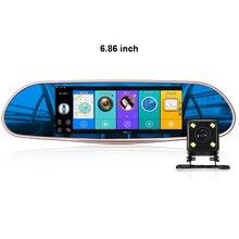 6.86 дюйма fm-передатчик Зеркало заднего вида Мониторы двойной Cam Даш Камера Android WiFi Видеорегистраторы для автомобилей Антирадары GPS навигации