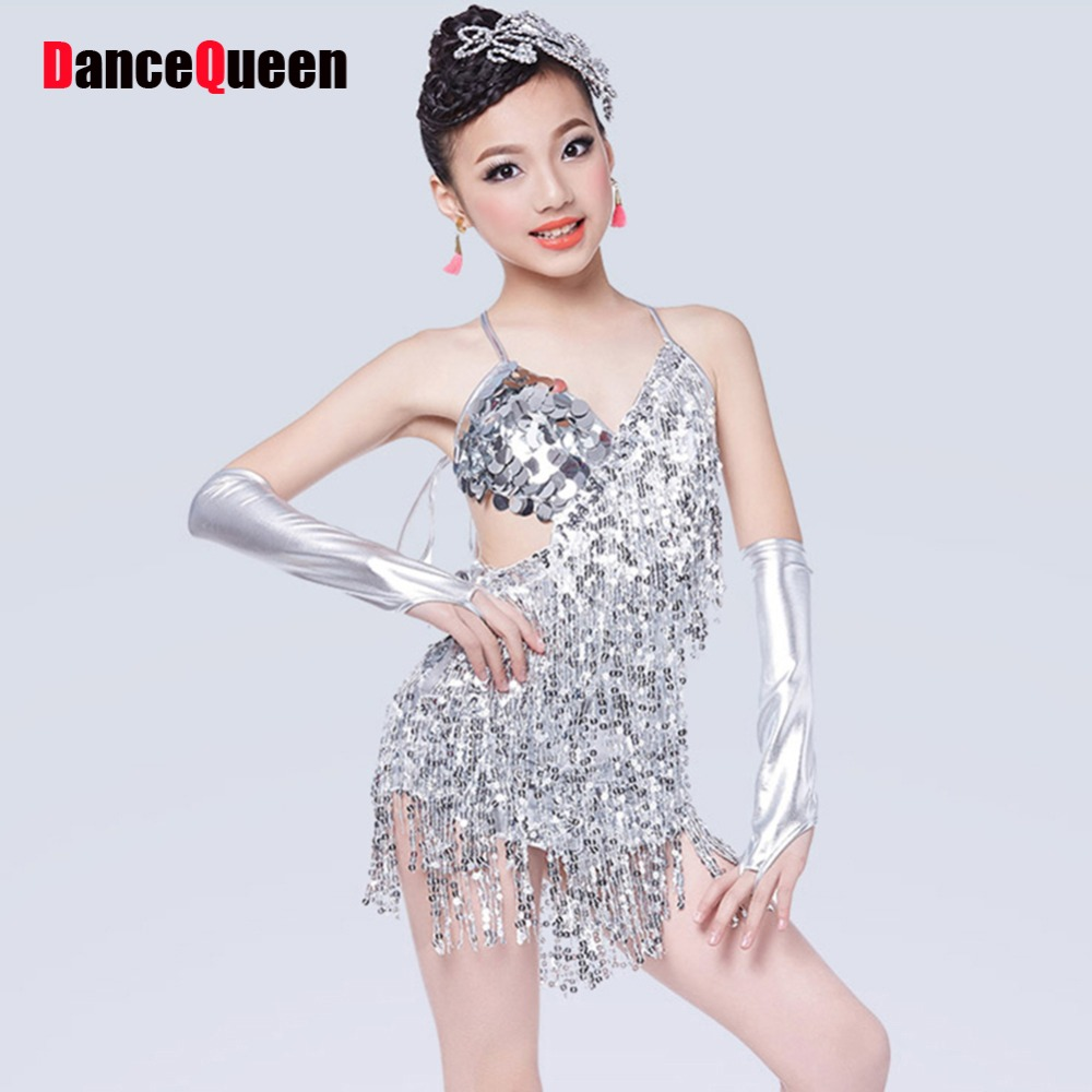 Latin Dance Dress For Girls Gold Silver Kaka Dance Dress 3 Pcs (Dress+2  Sleeve) Sequins Tassel Salsa Cha Cha Competition Dresses 62ece252937c