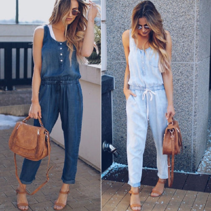 Women Strap Wide Legs Bodycon Jumpsuit Cowboy Romper Sleeveless Denim Trousers Clubwear Spring Autumn Casual Button Bow Fashion