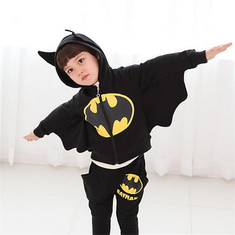 C Clothing Set Batman Suit Boys Hooded Jacket+Pants Suit Set Children Sport Suits Spring Kids Tracksuit Boy Clothes i k boy vest suit breathable sport suit for boys 2017 summer new arrived children clothing two piece set comfortable suits a1082