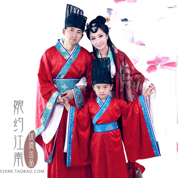 Xin Yun Song Dynasty Family Gathering Picture Parent-Child Costume Hanfu Sets Mother-Father-Son Stage Clothing