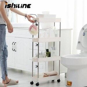 Image 1 - Étagère de rangement pour cuisine, étagère coulissante mince à assemblage mobile en plastique, étagère de salle de bain, roulettes, organiseur permettant de gagner de lespace, 2/3/4 couches