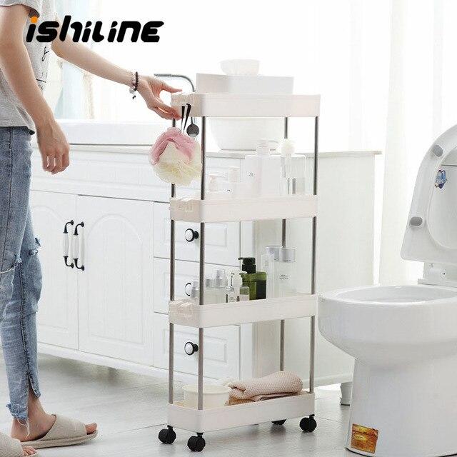 Étagère de rangement pour cuisine, étagère coulissante mince à assemblage mobile en plastique, étagère de salle de bain, roulettes, organiseur permettant de gagner de lespace, 2/3/4 couches