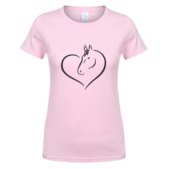 5136fc28 placeholder Love Riding Horse Women T Shirts Summer Short Sleeve Cotton Funny  Horse Girl T-shirt