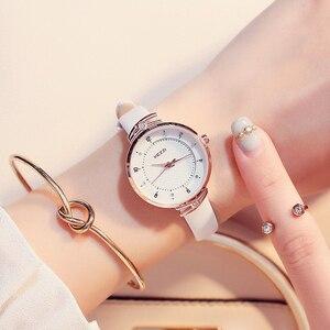Image 1 - Часы KEZZI женские с кожаным ремешком, брендовые Простые Модные маленькие Кварцевые водонепроницаемые наручные, с кристаллами