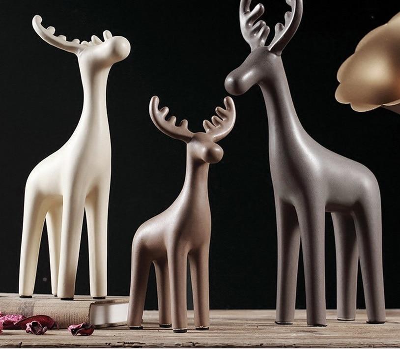 guci Scandinavian home ceramic reindeer decorative crafts living room creative jewelry modern ceramic Decoration three - piece