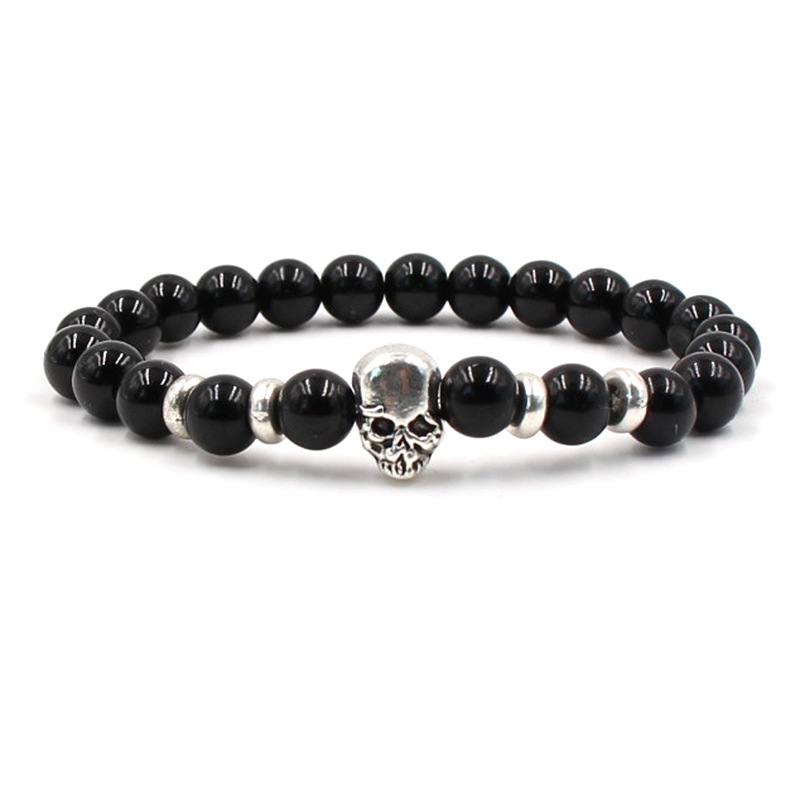 Charm Natural Stone Bracelet Set Silver Skull For Men And Women Accessories Elastic Wholesale