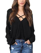 Yfashion Women Fashion Casual Long Sleeve Chiffon Tops Sexy V-neck T-Shirt