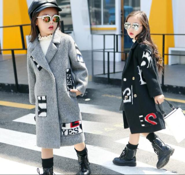 Girls Winter Turn Down Collar Single Breasted Wool Blends Coats Newest Cartoon Patchwork Woolen Thick Warm Long Outerwear Coat