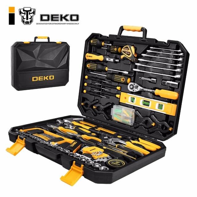 DEKO 168 шт. ручной инструмент набор общие бытовые ручной набор инструментов с пластик Toolbox чехол для хранения отвертка с гаечным ключом нож