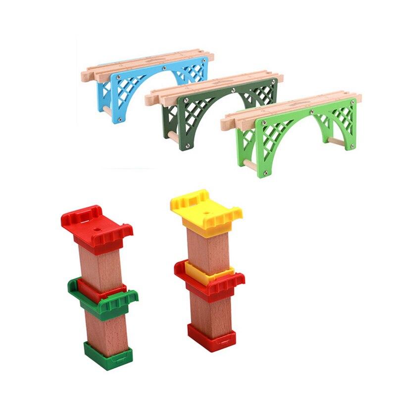 P095 деревянные цветные Piers двухсторонний деревянный мост трек аксессуары, совместимые с Томас маленький поезд деревянный трек