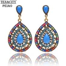 TENACITY PEIAO Female fashion Wedding party Charm jewelry Vintage Bohemian beads heart pendant drop earring women Christmas gift