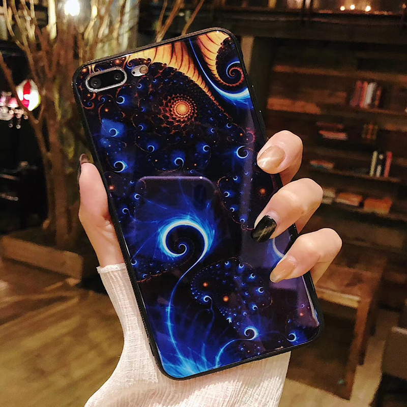 Starry sky Moon Tempered Glass Blue light Phone Case For iPhone 7Plus Colorful Romantic Love Crystal For iPhone 6 8 x Back Cover